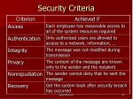 security criteria