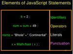 elements of javascript statements
