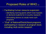 proposed roles of who 2