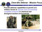 chem bio defense mission focus