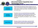 decontamination capability area technology focus