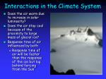 interactions in the climate system