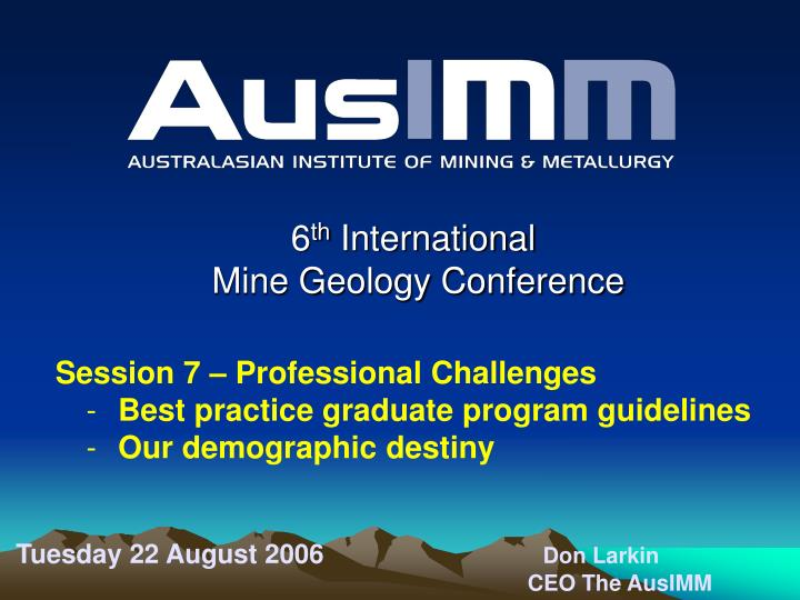 6 th international mine geology conference n.