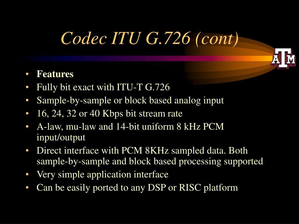 Codec ITU G.726 (cont)