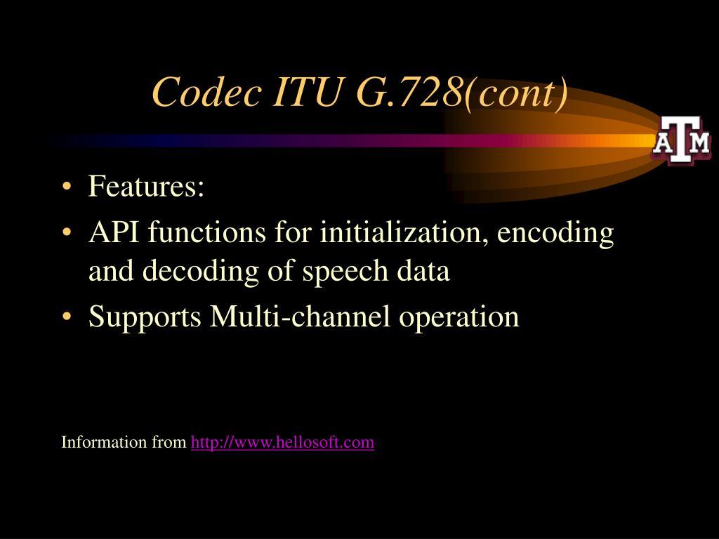 Codec ITU G.728(cont)