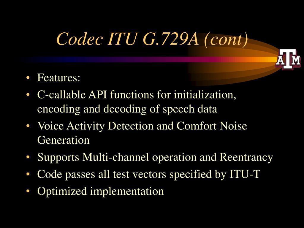 Codec ITU G.729A (cont)