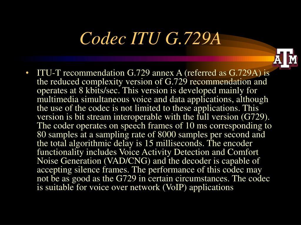 Codec ITU G.729A