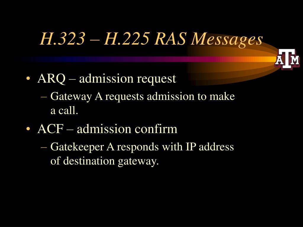H.323 – H.225 RAS Messages