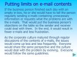 putting limits on e mail contents
