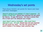 wednesday s set points