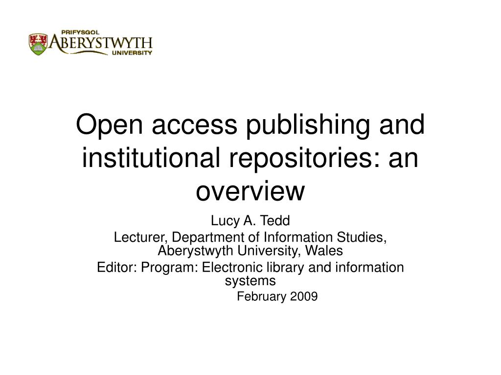 open access publishing and institutional repositories an overview l.