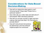 considerations for data based decision making