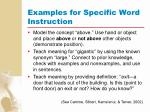 examples for specific word instruction