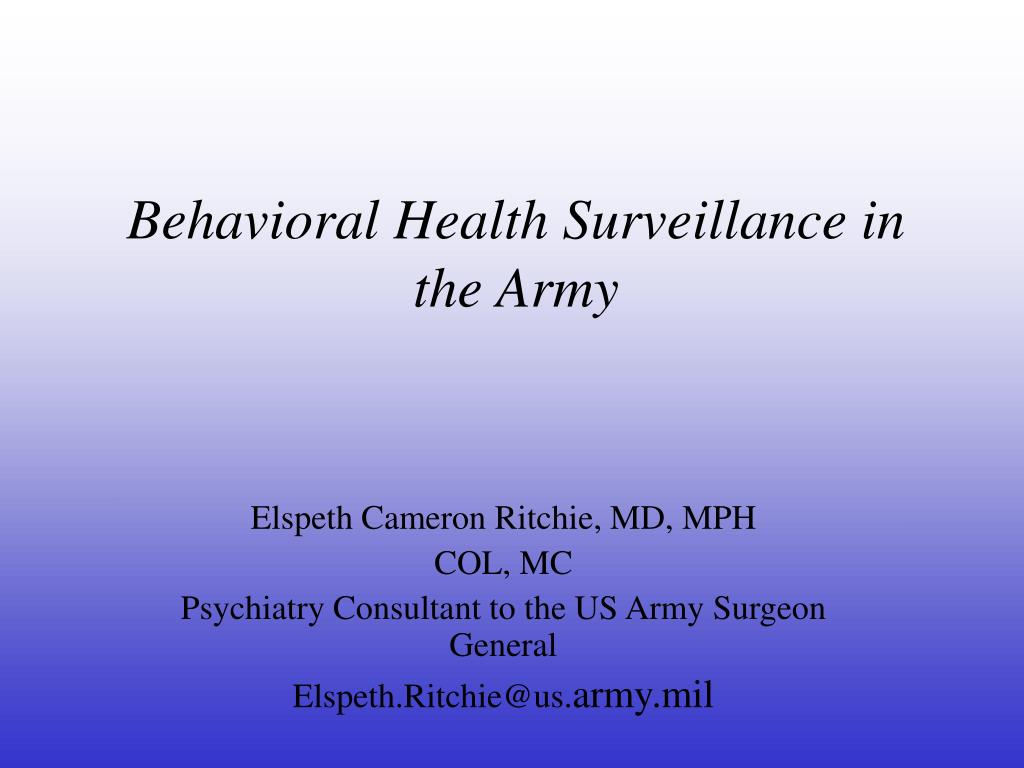 behavioral health surveillance in the army l.
