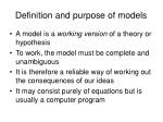 definition and purpose of models