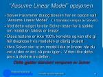 assume linear model opsjonen