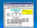 implementering av modellen