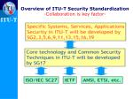 overview of itu t security standardization collaboration is key factor