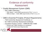 evidence of conformity assessment