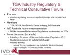 tga industry regulatory technical consultative forum