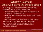 what we learned what we believe the study showed