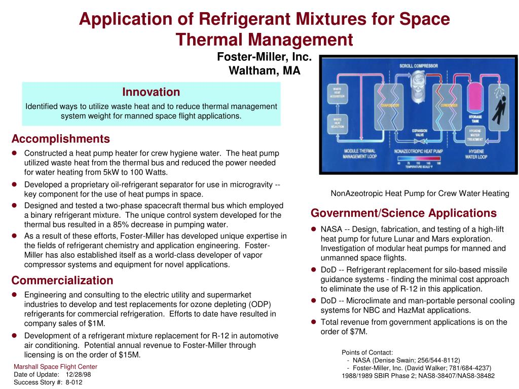 application of refrigerant mixtures for space thermal management foster miller inc waltham ma l.