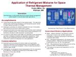 application of refrigerant mixtures for space thermal management foster miller inc waltham ma
