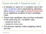 learn one rule 1 function cont