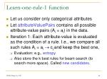 learn one rule 1 function