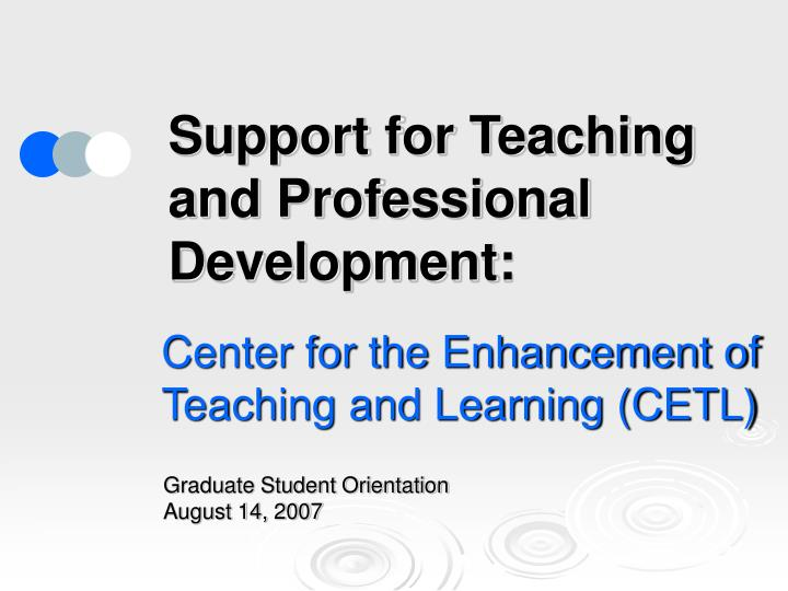 support for teaching and professional development n.