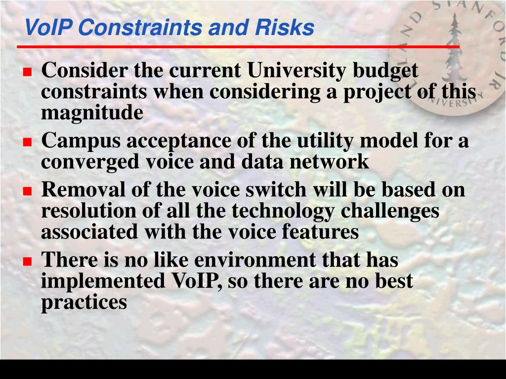 VoIP Constraints and Risks