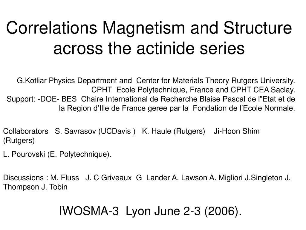 correlations magnetism and structure across the actinide series l.