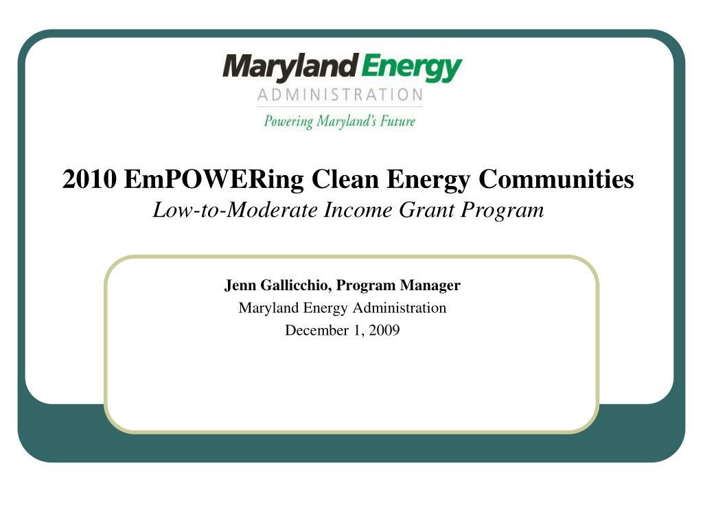 jenn gallicchio program manager maryland energy administration december 1 2009 l.