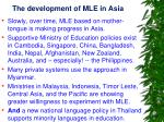 the development of mle in asia