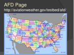 afd page http aviationweather gov testbed afd