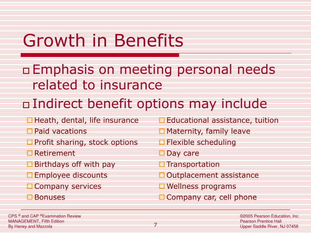 Growth in Benefits