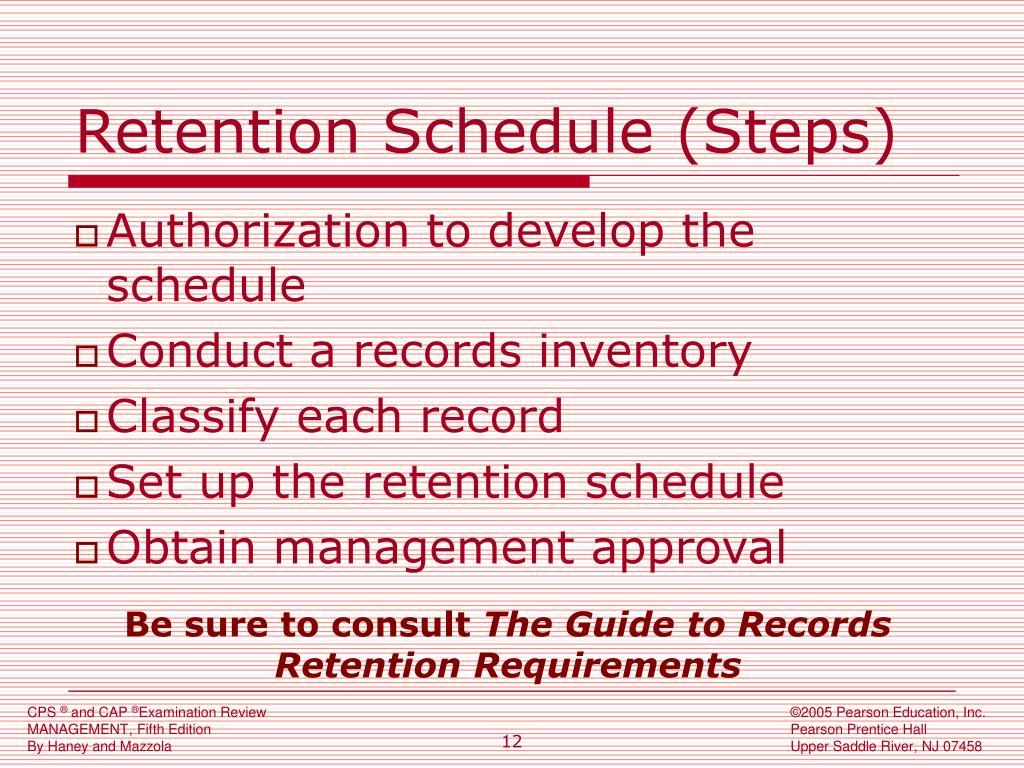 Retention Schedule (Steps)