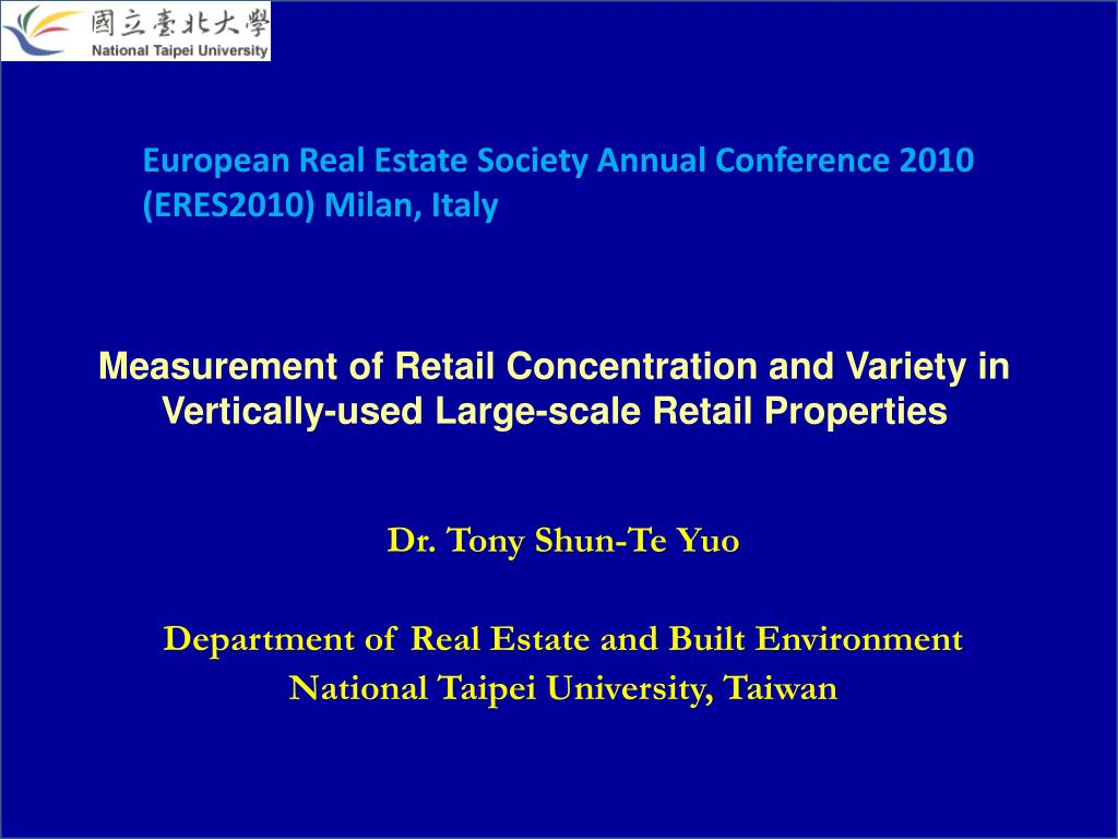 measurement of retail concentration and variety in vertically used large scale retail properties l.