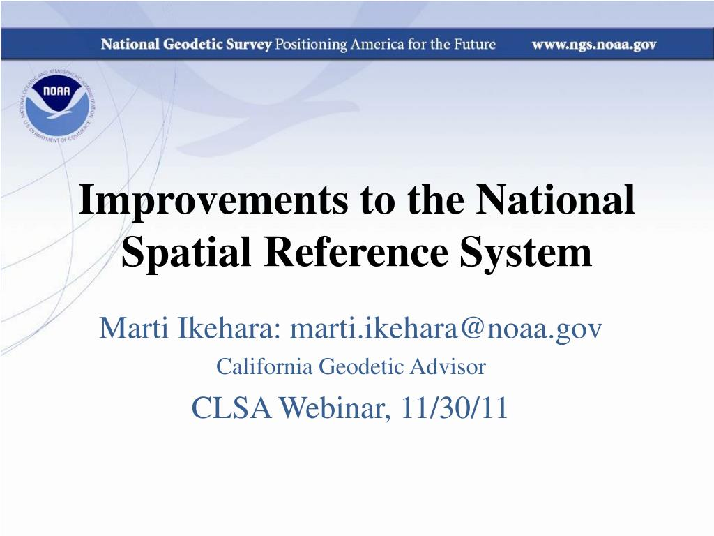 improvements to the national spatial reference system l.