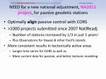 need for a new national adjustment na2011 project for passive geodetic stations