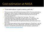 cost estimation at nasa