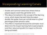 incorporating learning curves