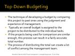 top down budgeting