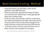 work element costing method