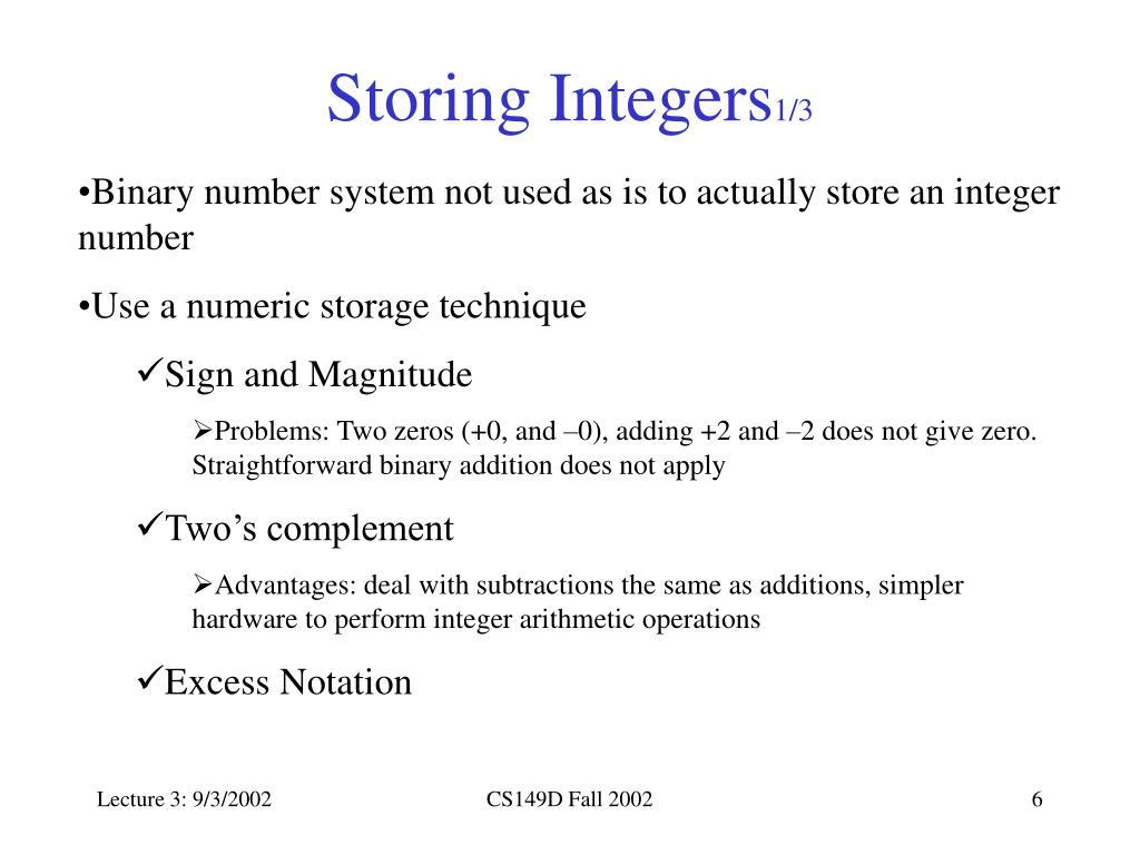 Storing Integers