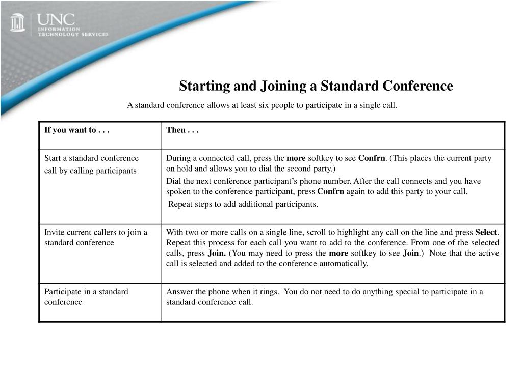 Starting and Joining a Standard Conference