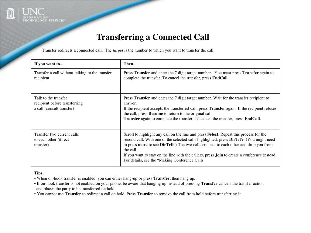 Transferring a Connected Call