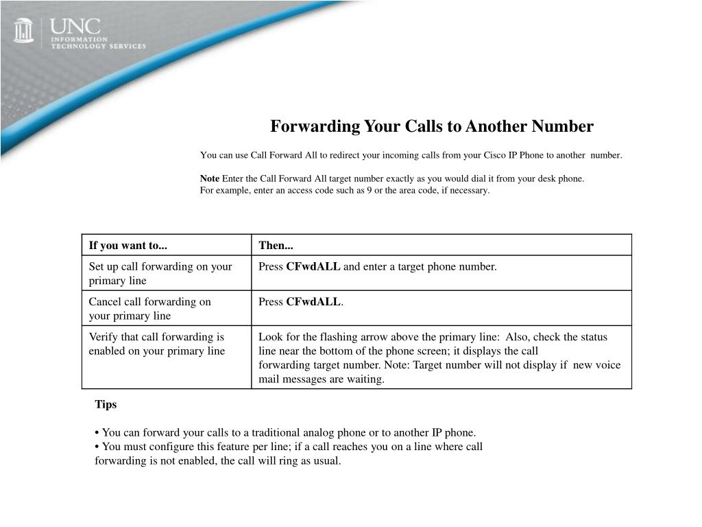 Forwarding Your Calls to Another Number