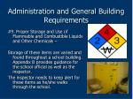 administration and general building requirements59