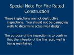 special note for fire rated construction